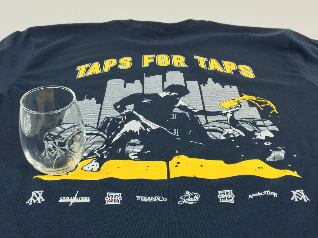 Taps For Taps Tee and Beer Glass Combo Pack