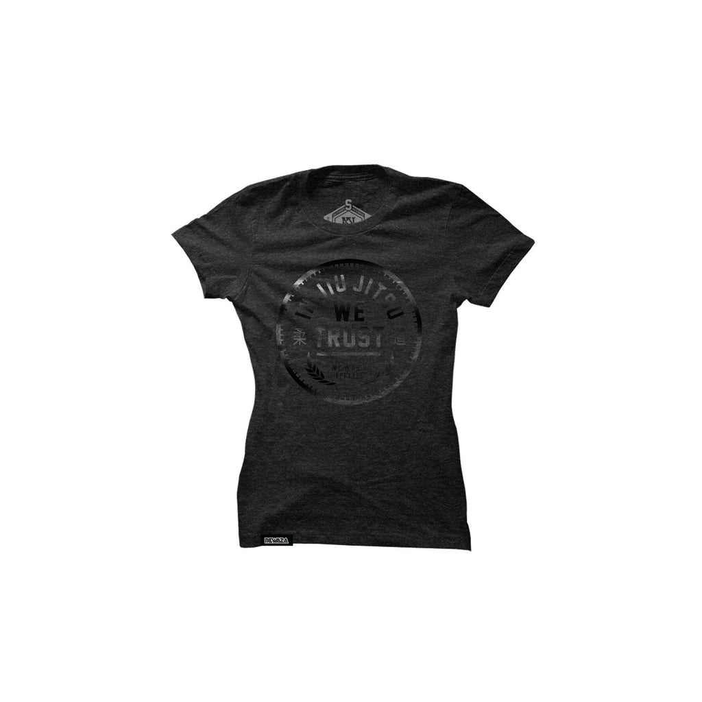 In Jiu Jitsu We Trust (Women's Black on Heather Black Tee)