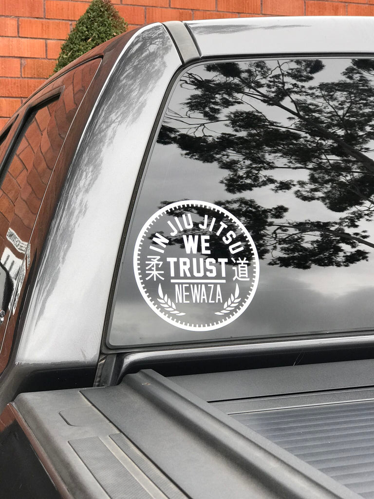 In Jiu Jitsu We Trust White Vinyl Decal Sticker
