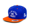 In Jiu Jitsu We Trust Hat (White on Royal w/ orange bill)