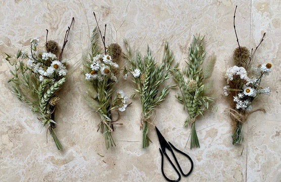 White Dried Buttonholes - Set of 5