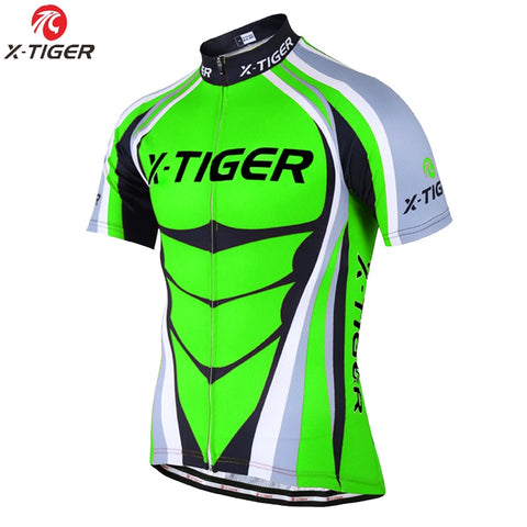 WSW X-TIGER Flour Green Cycling Jersey  MTB Racing Bike clothing