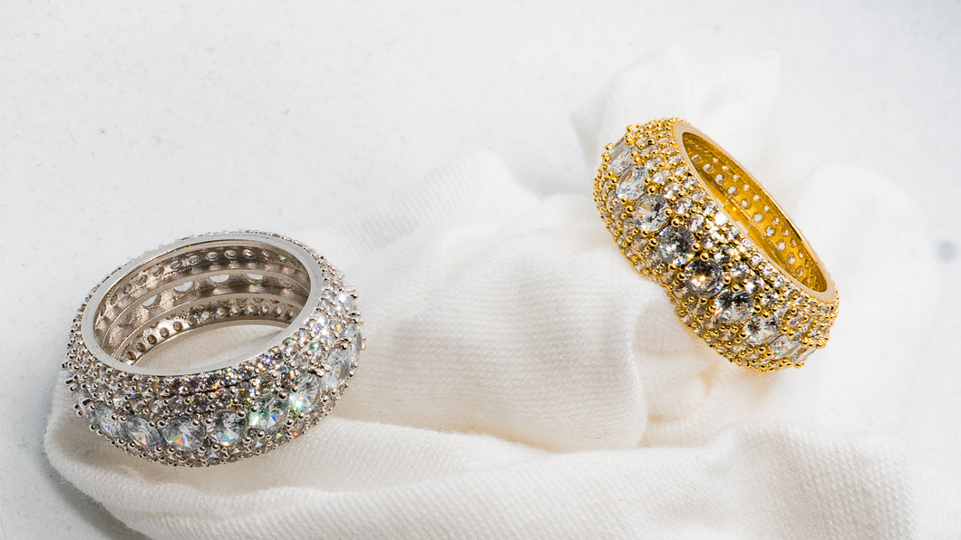 Micro Pave Round Cut Eternity Ring White or Yellow Gold