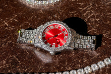 Load image into Gallery viewer, Red Dial White Gold Pave Iced Roman Numerals With Date Fashion Men's Watch