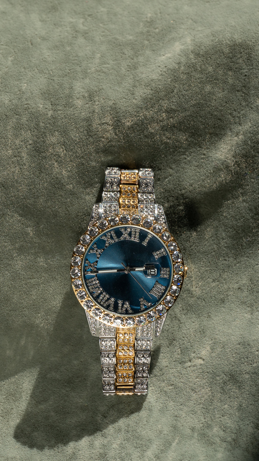 Blue Dial Pave Iced Roman Numerals With Date Fashion Men's Watch