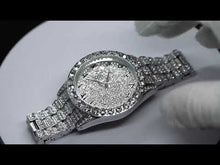 Load and play video in Gallery viewer, White Gold Pave Iced Arabic Numerals With Date Fashion Men's Watch