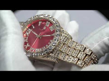 Load and play video in Gallery viewer, Red Dial Pave Iced Roman Numerals With Date Fashion Men's Watch
