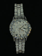 Load image into Gallery viewer, White Gold Pave Iced Arabic Numerals With Date Fashion Men's Watch