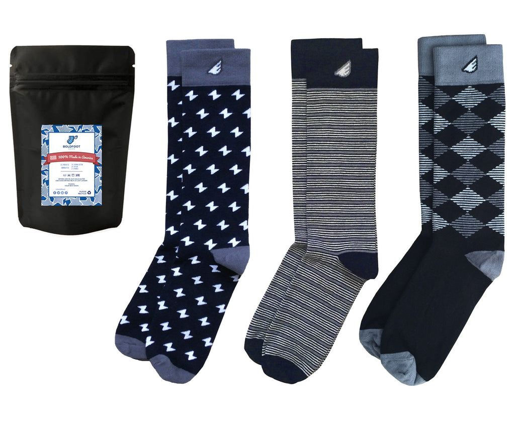 Formal Black & White Fun Patterned Mens Dress Socks Gift Pack Bundle 3-pack