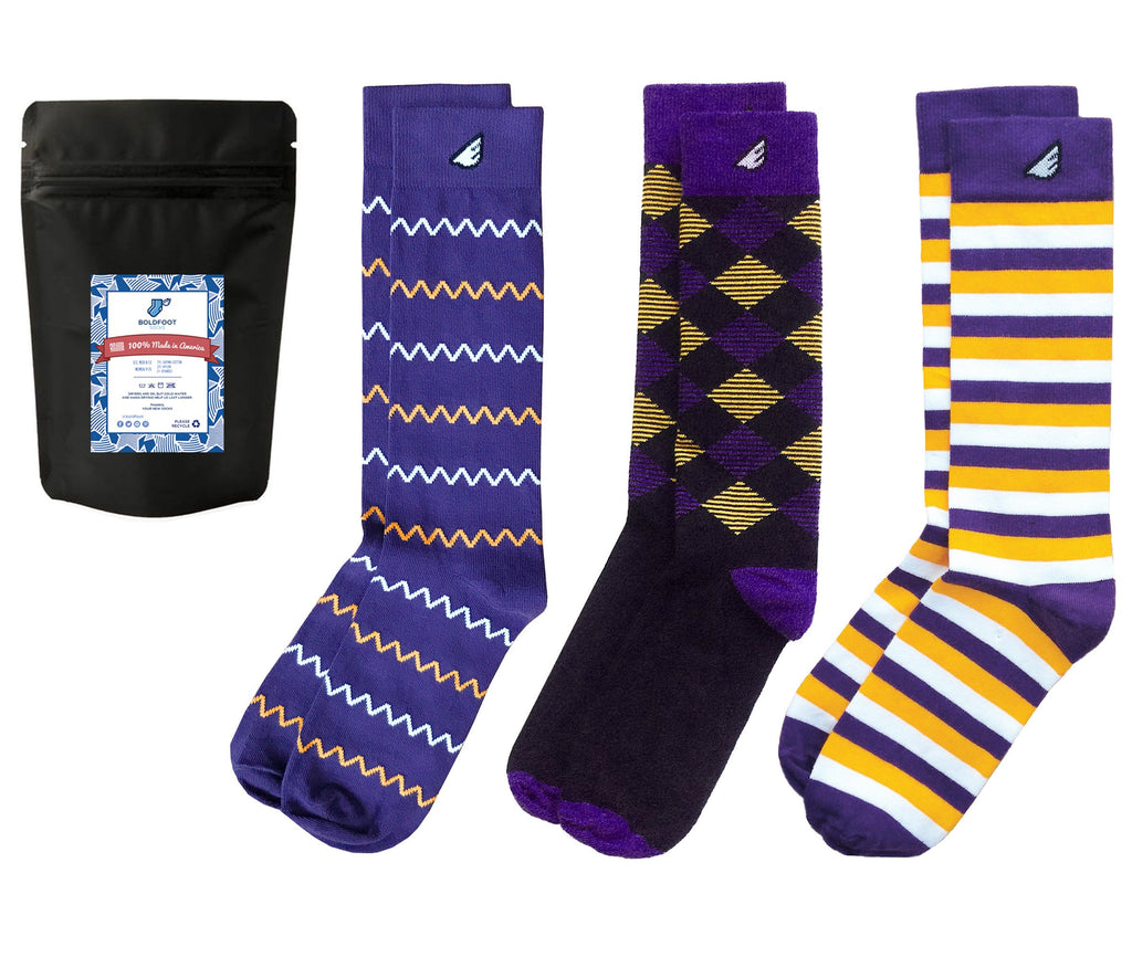 Purple & Gold 3-pack Dress Casual Socks American-made