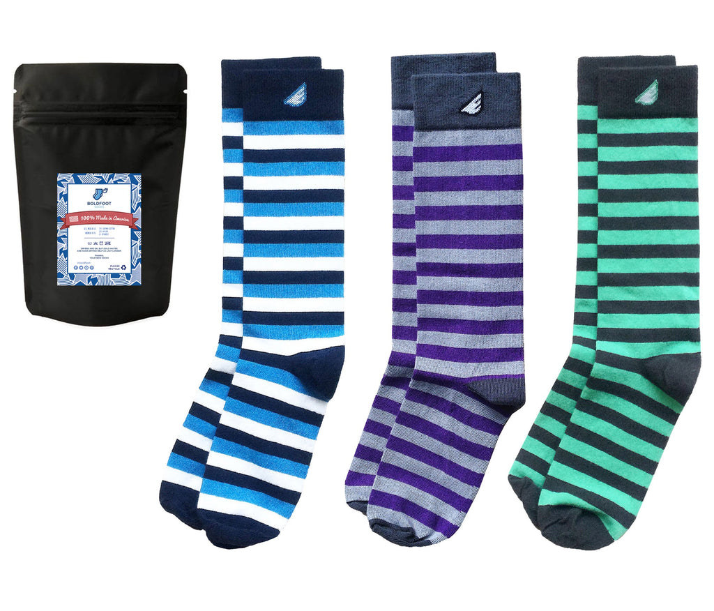 "3-pack Fun Colorful Thick Stripes Men's Dress Socks - American-made - ""Jailbird"""