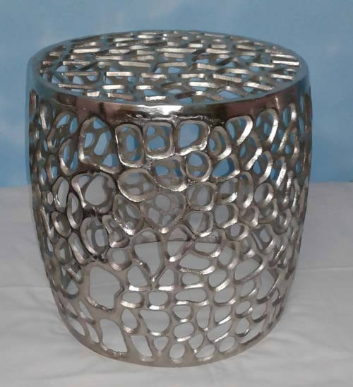 Nickel plated cutwork stool
