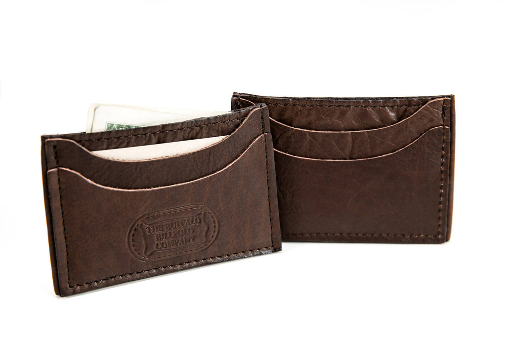 9e90ba35a22272 Front Pocket Wallet Card Case - Bison Leather - Brown Made in America