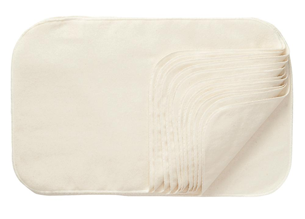 Natural Cotton Burp Cloths - 12 Per Package