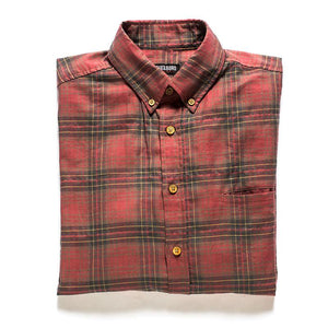 Red plaid shirt made in usa Japanese fabric