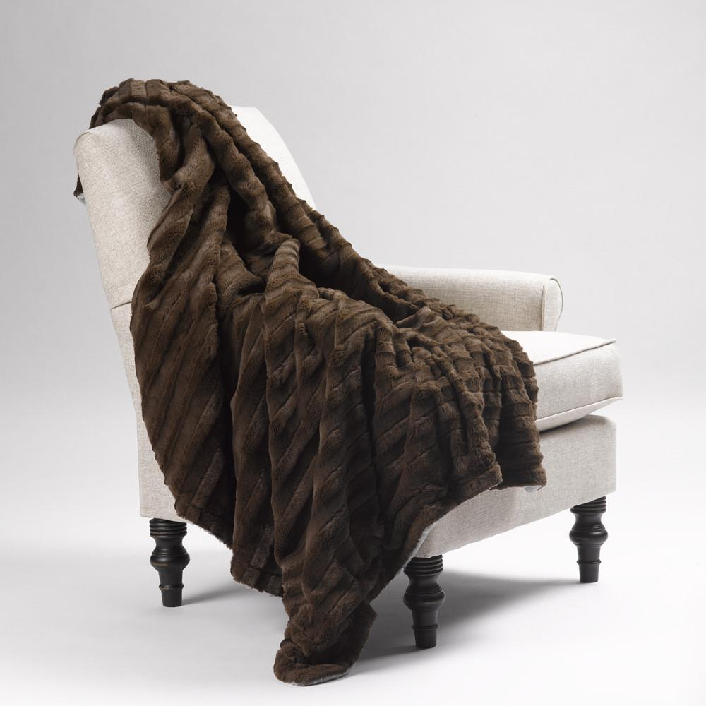 Faux Fur Blanket Chocolate Mink
