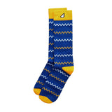 West Virginia Mountaineers Michigan Cal Bears Golden State Warriors Chevron Pattern High Quality Fun Unique Crazy Dress Casual Socks Royal Blue Gold Yellow White Made in America USA