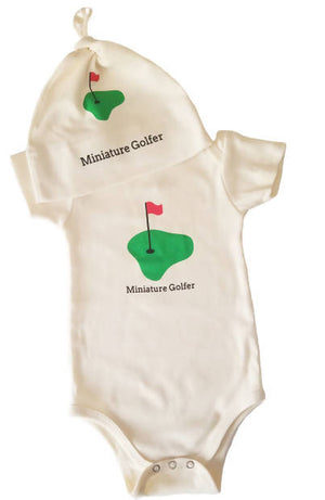 Gift set/ organic hat and one romper. Miniature Golfer