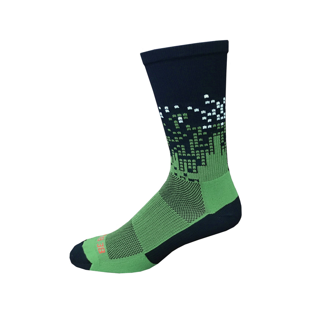 Headliner - Navy & Lime Green. American Made Unique Athletic Socks