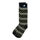 Fun Patriotic US Army Black Gold White American Flag Stars & Stripes Made in USA Dress Casual Socks Gift Stocking Stuffer for Men & Women