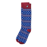 Fun Patriotic Royal Blue Red White American Flag Stars & Stripes Made in USA Dress Casual Socks Gift Stocking Stuffer for Men & Women (Coast Guard colors)