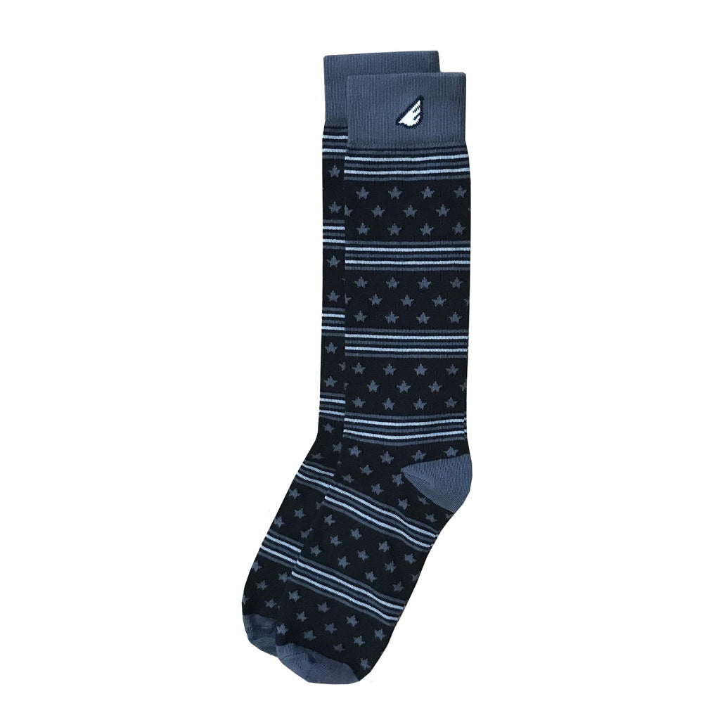 Cool Formal Patriotic Black Grey American Flag Stars & Stripes Made in USA Dress Casual Socks Gift for Men & Women