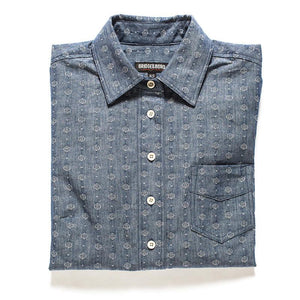 womens popover shirt button down japanese denim dot pattern