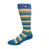 Jailbird - Sky Blue, Light Green & Light Yellow American Made Stripe 15-20mmHg OTC Compression Socks