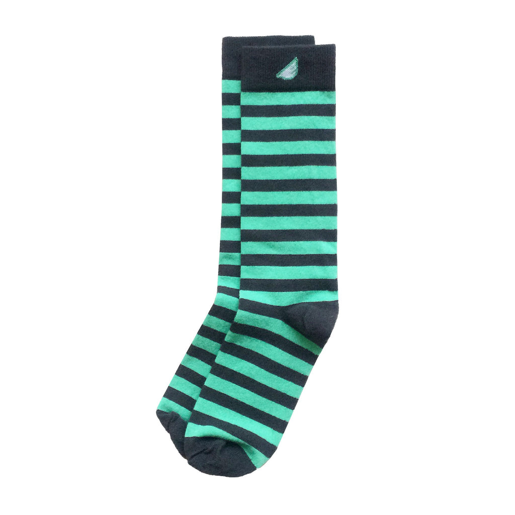 Quality Fun Unique Crazy Stripe Dress Casual Socks Dark Grey Light Green Made in America USA