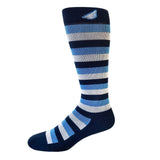 Jailbird - Navy, Sky Blue & Light Grey. American Made Stripe 15-20mmHg OTC Compression Socks