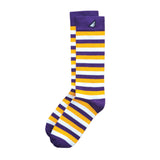 LSU Tigers ECU Pirates JMU Quality Fun Unique Crazy Stripe Dress Casual Socks Purple Gold White Made in America USA
