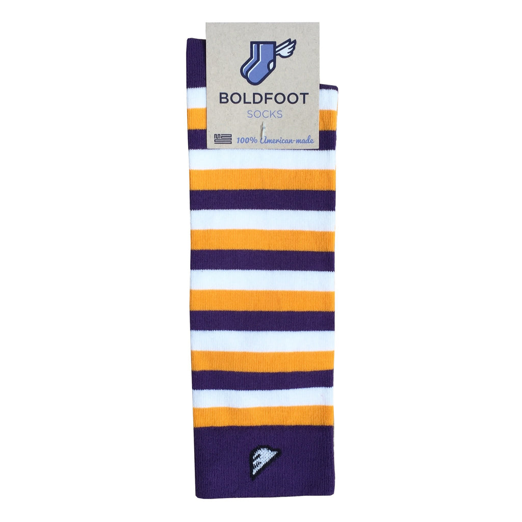 LSU Tigers ECU Pirates JMU Quality Fun Unique Crazy Stripe Dress Casual Socks Purple Gold White Made in America USA Packaging