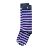 TCU Northwestern Quality Fun Unique Crazy Stripe Dress Casual Socks Purple Grey Made in America USA