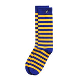 Golden State Warriors Cal Bears WVU Michigan Quality Fun Unique Crazy Stripe Dress Casual Socks Royal Blue Gold Yellow Made in America USA