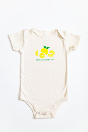 "Baby Romper Organic Baby ""I get squeezed a lot"""