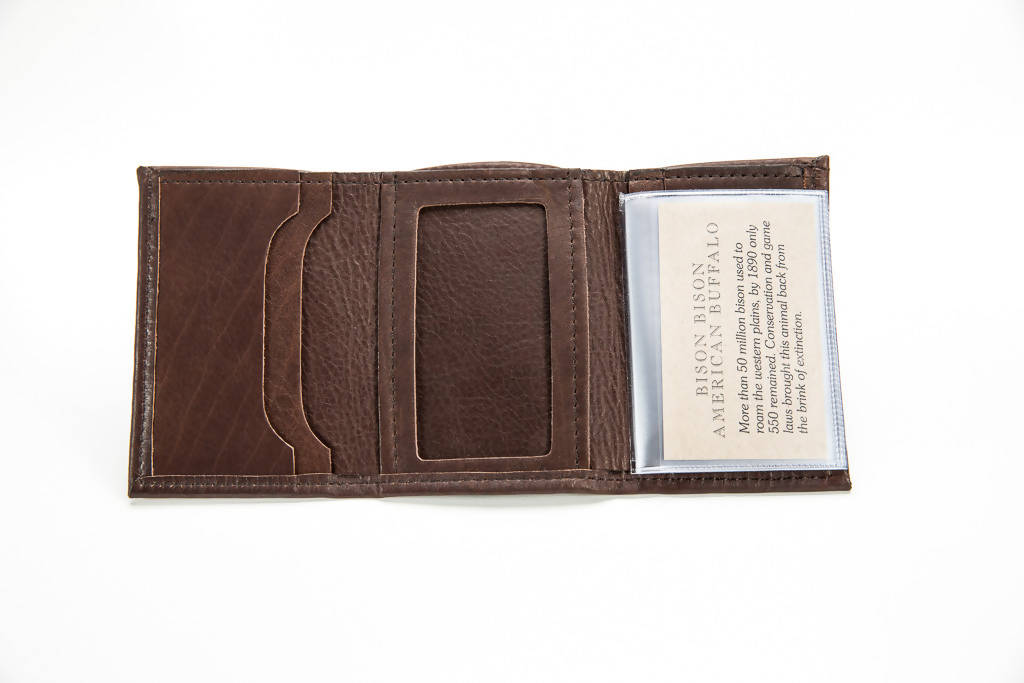 Three Fold Wallet - Bison Leather - Brown
