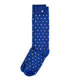 Party Animal - Royal, Gold & White. American Made Dress / Casual Unique Polka Dot Socks