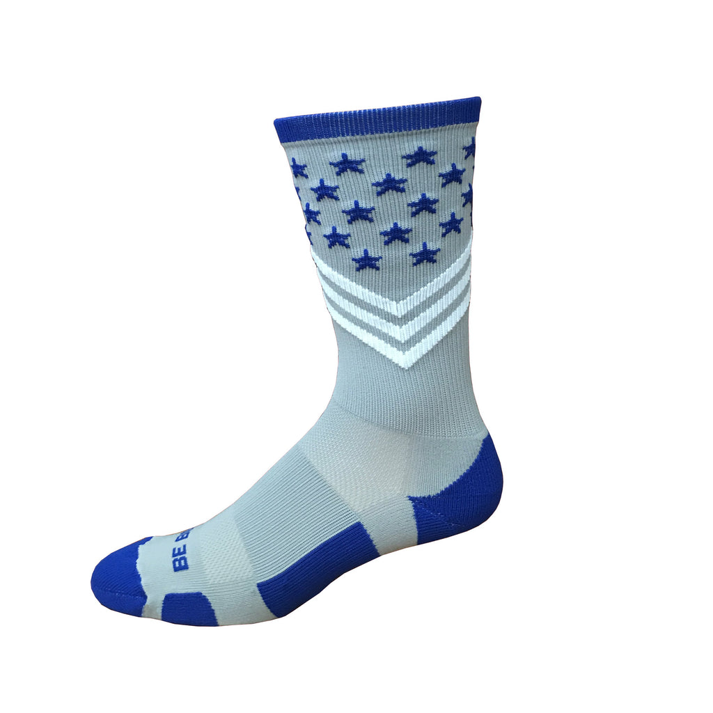 Fun Patriotic Air Force Academy Royal Blue Grey White American Flag Stars & Stripes Made in USA Athletic Running Work-out Socks Gift for Men & Women