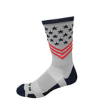 Fun Patriotic Grey Red Navy Blue American Flag Stars & Stripes Made in USA Athletic Running Work-out Socks Gift for Men & Women
