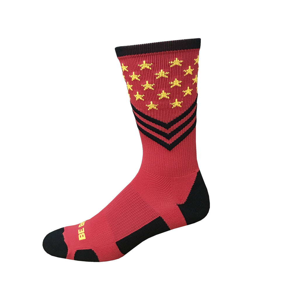 Fun Patriotic Marine Corps Marathon Red Gold Black American Flag Stars & Stripes Made in USA Athletic Running Work-out Socks Gift for Men & Women