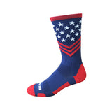 Fun Patriotic Red White Navy Blue American Flag Stars & Stripes Made in USA Athletic Running Work-out Socks Gift for Men & Women
