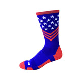 Fun Patriotic Red White Royal Blue American Flag Stars & Stripes Made in USA Athletic Socks Gift for Men & Women (Coast Guard colors)