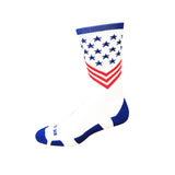 Fun Patriotic White Red Royal Blue American Flag Stars & Stripes Made in USA Athletic Running Work-out Socks Gift for Men & Women