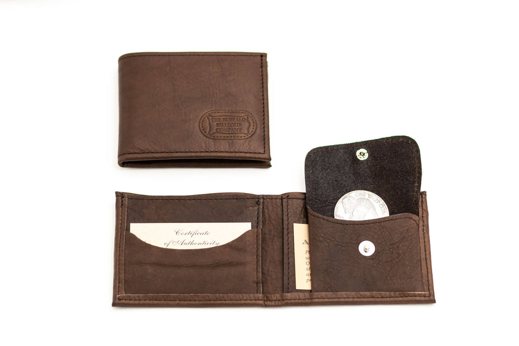Buffalo Leather Bifold Wallet with Coin Pocket