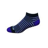Racer - Black, Purple & Grey. American Made Stripe Ankle Athletic Socks