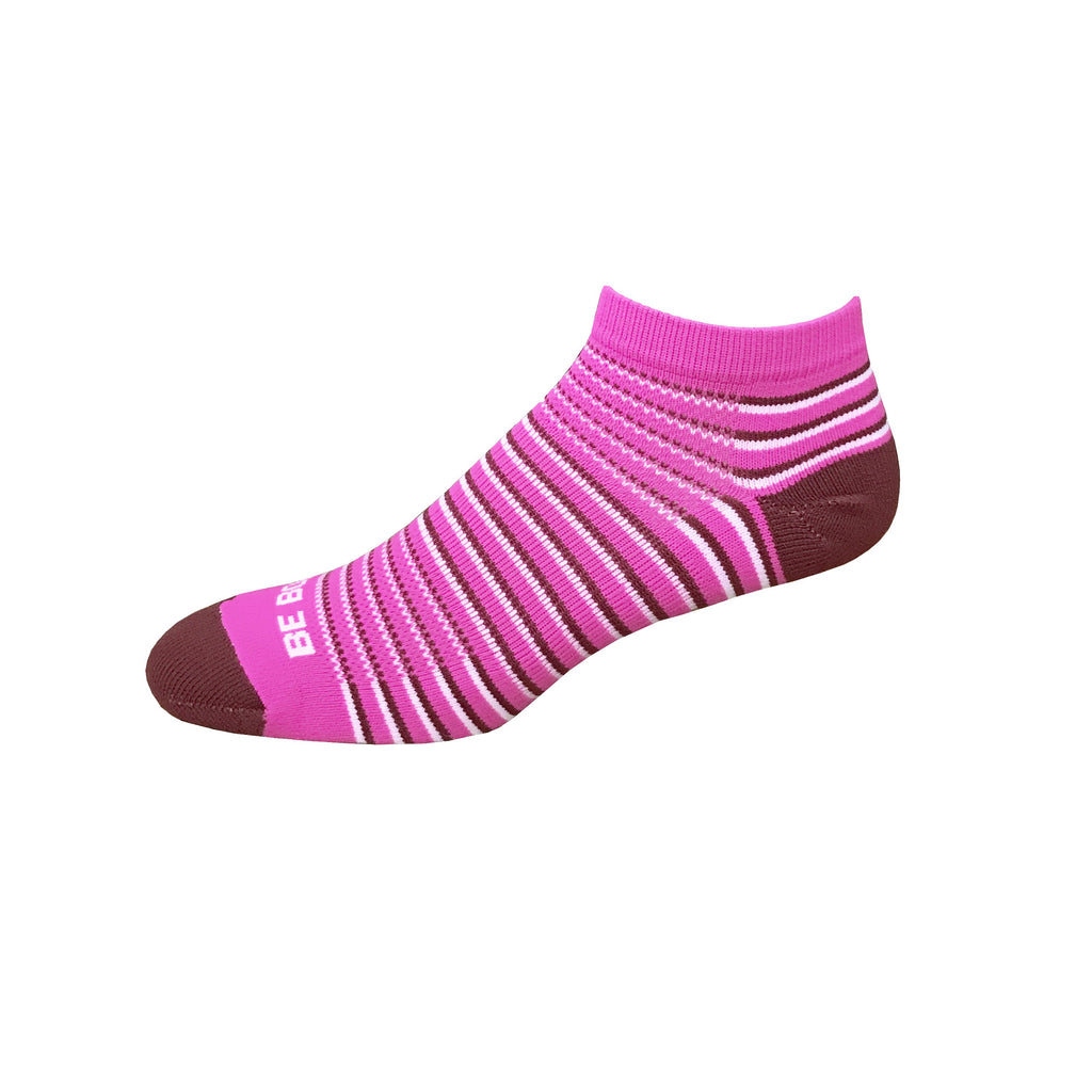 Racer - Hot Pink, Maroon & White. American Made Stripe Ankle Athletic Socks