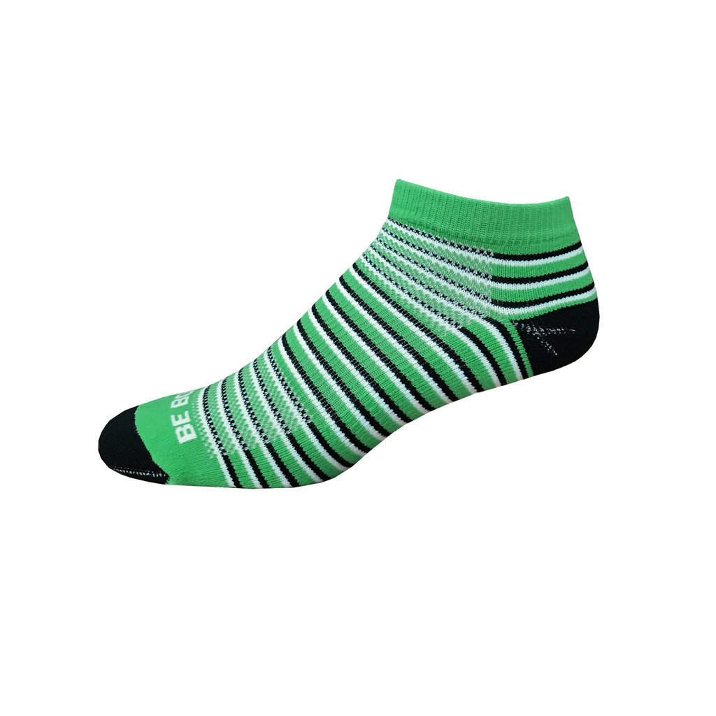 Racer - Lime, Black & White. American Made Stripe Ankle Athletic Socks