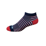 Racer - Navy, Red & White. American Made Stripe Ankle Athletic Socks