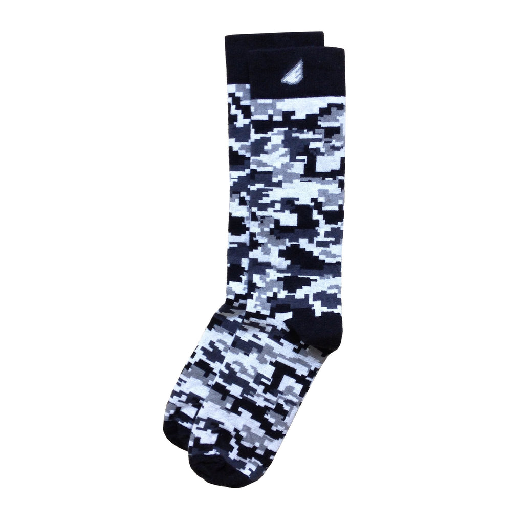 Digital Camo Camouflage Digicamo Quality Fun Unique Crazy Dress Casual Socks Black Grey White Made in America USA