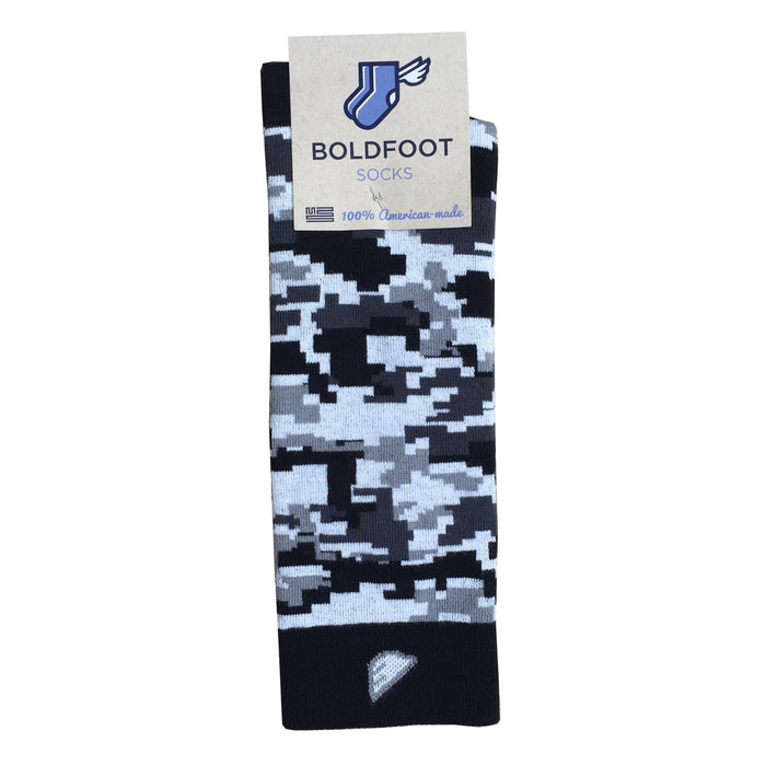 Digital Camo Camouflage Digicamo Quality Fun Unique Crazy Dress Casual Socks Black Grey White Made in America USA Packaging